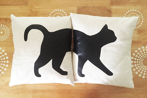 black cat split pillow cover set
