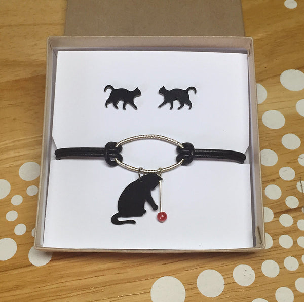 black cat earrings and bracelet set