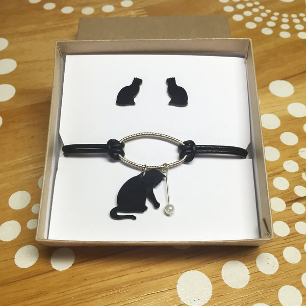 Black Cat Bracelet and Earrings Jewelry Gift Set