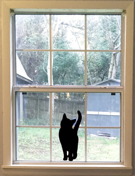 Large Curious Black Cat Decal