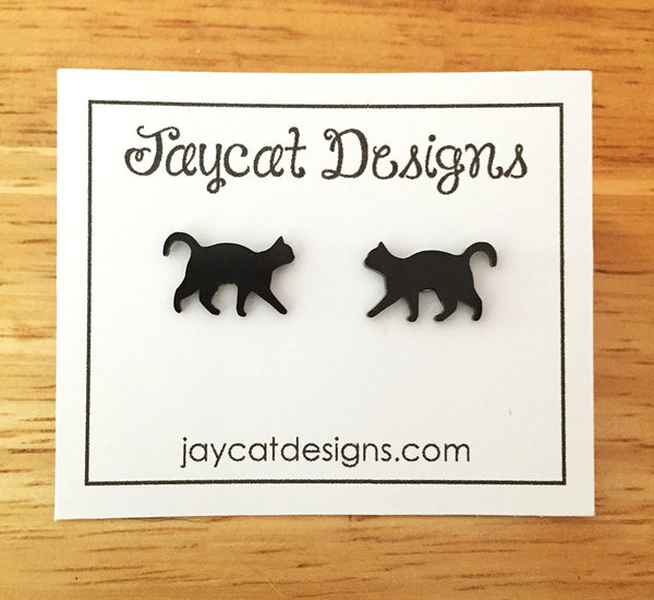 tiny walking black cat earrings