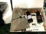 "Special Relaxing Blends Gift Set with ""Lotus"" Amazonite Lava Bead Aroma Bracelet and Two Diffusing Essential Oil Blends"