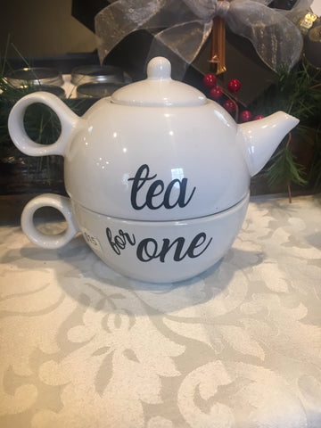 Tea Pot - Tea For ME with Vinyl Lettering