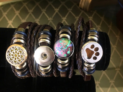 Leather Snap in Charm Bracelet With Two Charms - ONLY ONE Available!