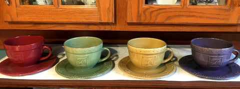 Extra Large Mug and Saucer Set of 4 - ONLY ONE SET Available!