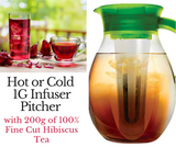 One Gallon Hot or Cold Tea Infuser Pitcher (Green) with 200g Fine Cut Hibiscus Tea.