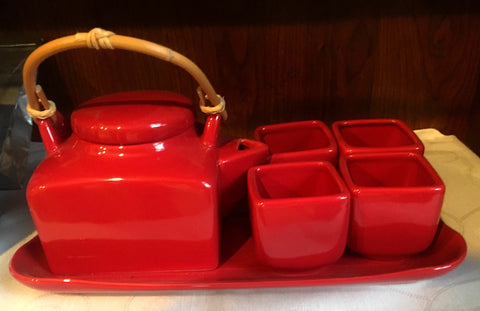 Red Tea Set with 4 Square Cups and Tray - ONLY ONE SET Available!