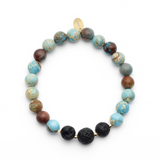 Special Relaxing Blends Gift Set with Turquoise Jasper Lava Bead Aroma Bracelet with Two Essential Oil Diffuser Blends