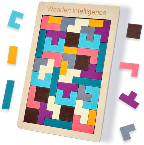 Roll over image to zoom in Wooden Tetris Puzzle Brain Teasers Toy