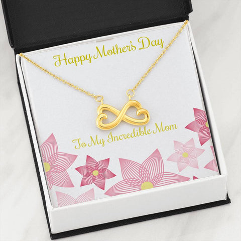 Mother's Day White/Yellow Gold Heart Shaped Symbol Necklace - Sobrinos