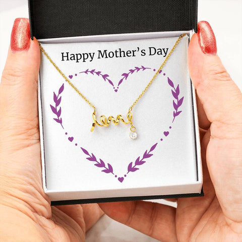 Image of Mother's Day Love Scripted with Cubic Zirconia Pendant Chain - Sobrinos