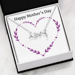 Mother's Day Love Scripted with Cubic Zirconia Pendant Chain - Sobrinos