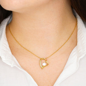 Mother's Day Gift, 3D Gold Heart Shaped Pendant with Stone - Sobrinos
