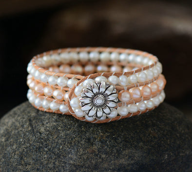 Boho Pearl Leather Bracelet