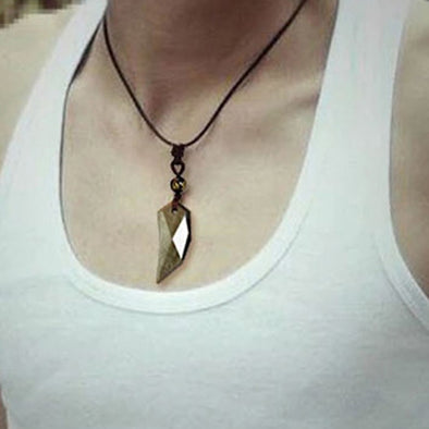 Gold Obsidian Dragon Tooth Pendant