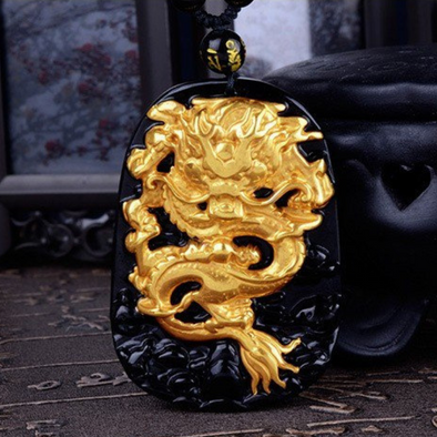 Black Obsidian Golden Dragon Pendant