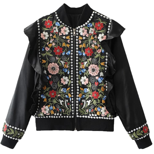 Black Jacket with Embroideries and ruffle sleeves, outerwear, The Gipsy Corner, The Gipsy Corner