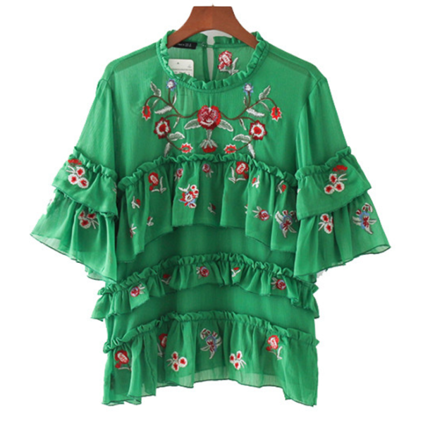 Green Ruffle Blouse, top, The Gipsy Corner, The Gipsy Corner