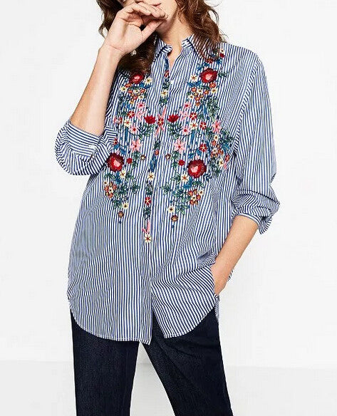 Blue striped shirt with embroideries