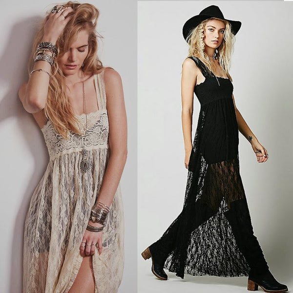 Strapless Lace Maxi Dress