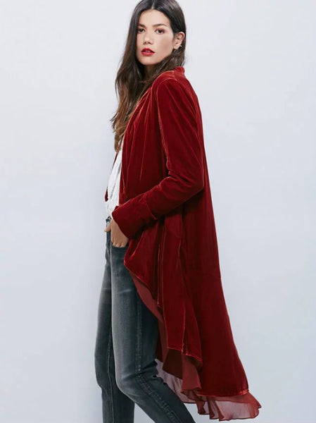 Velvet and Chiffon Trench Cardigan