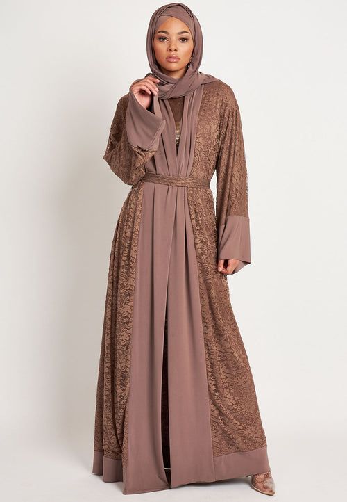 Lace Abaya - Brown