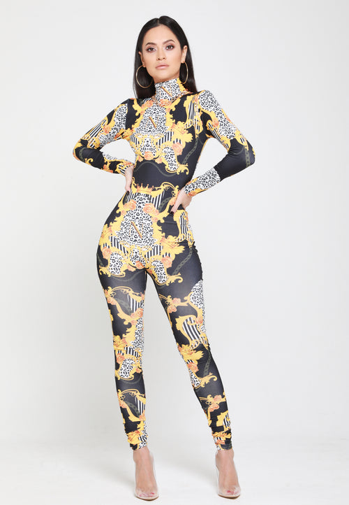 Empower Neish Print Design Fitted Jumpsuit - Black