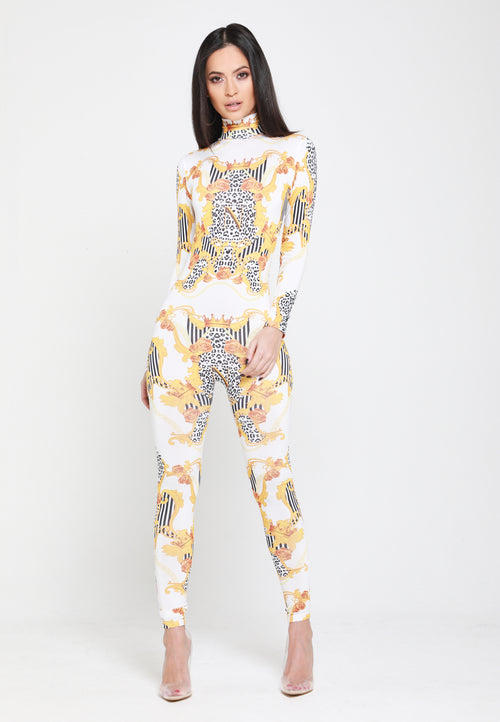 Empower Neish Print Design Fitted Jumpsuit - White