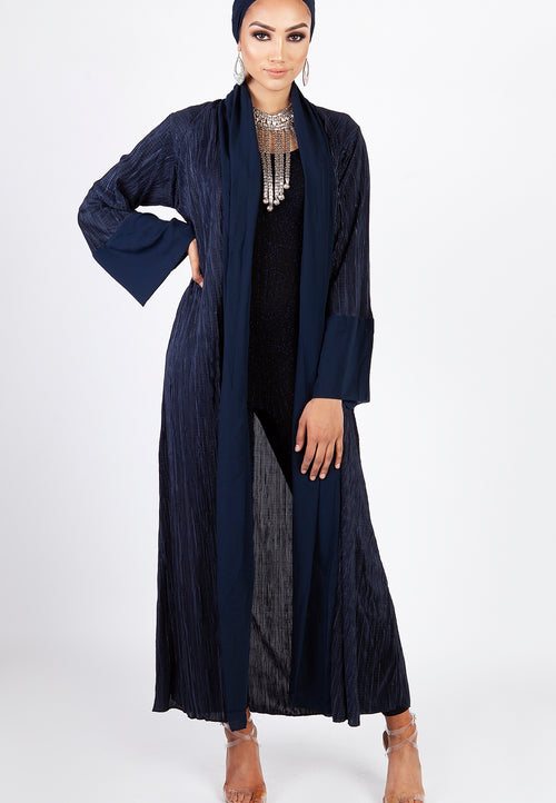 Pleated Abaya - Navy