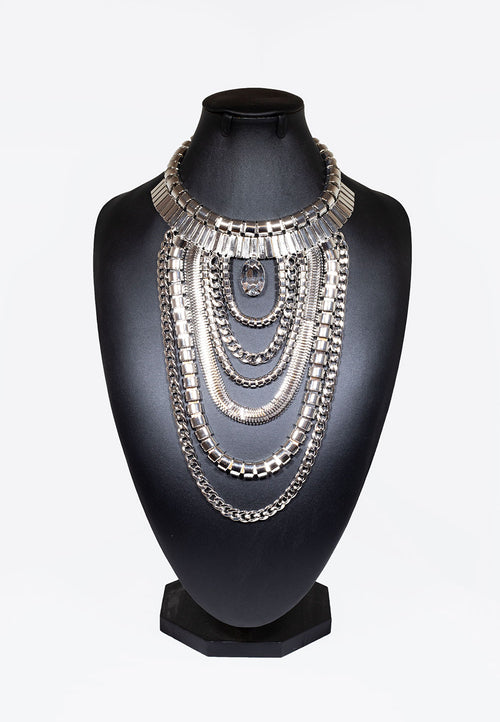 Chain Drop Necklace With Centrepiece Jewel - Silver