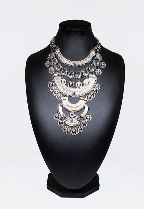 Egyptian Silver Coined Necklace - Silver