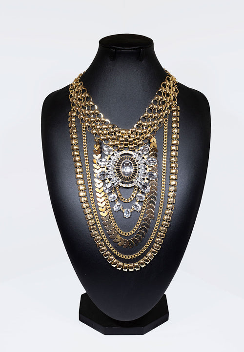 Chain Drop Necklace With Centrepiece Jewel - Gold