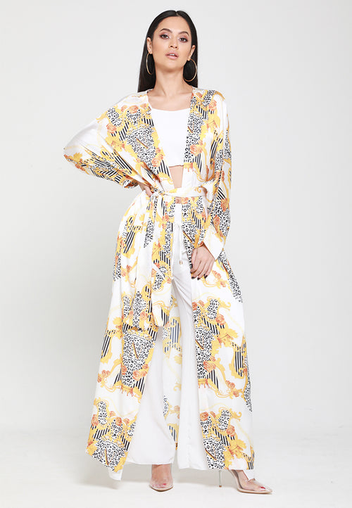 Empower Neish Print Design Kimono With Belt - White