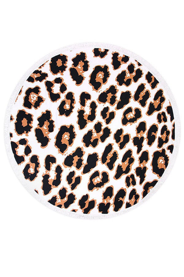 Leopard Print Fringe Terry Round Towel