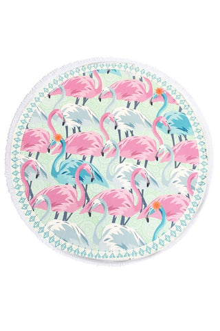 Flamingo Terry Fringe Beach Towel
