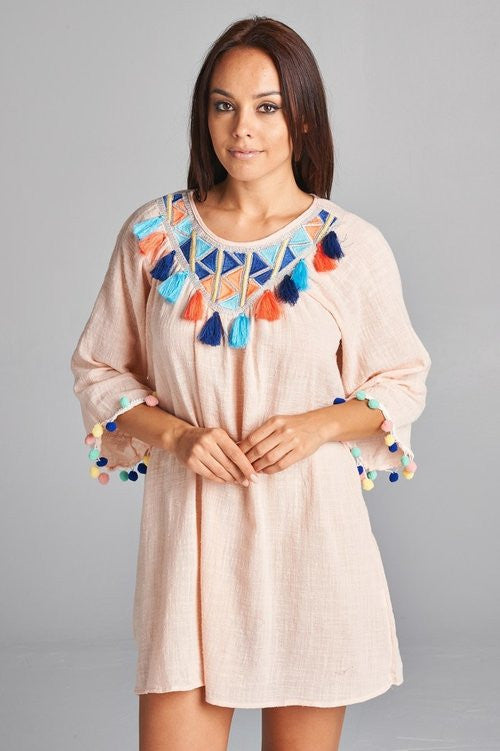 Vee Pom Pom Tunic Dress