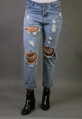 Halyn Pearl Distressed Boyfriend Jeans