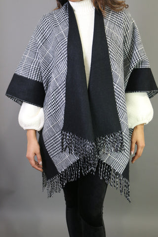 Audrey Glen Check Reversible Pancho