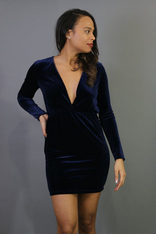 Deep V Velvet Short Dress in Navy