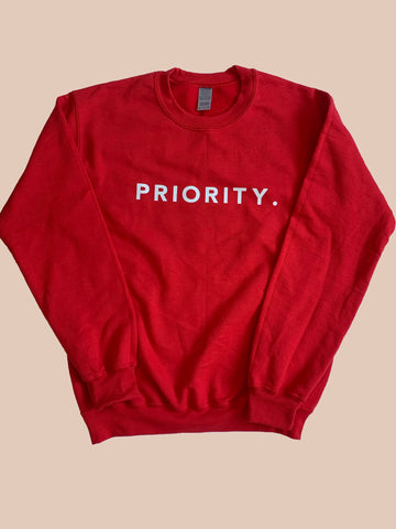 "RED ""PRIORITY"" STATEMENT SWEATSHIRT"
