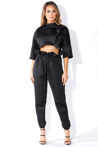 All Black Crop Top and Pants With Ruffle Drawstring Waist Set