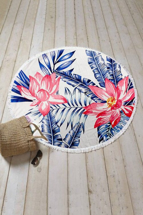 Tropical Floral Round Towel