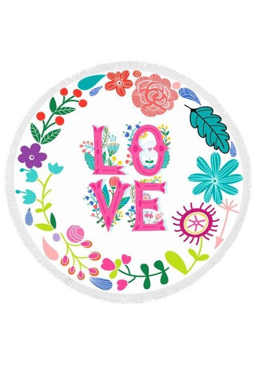 LOVE Floral Round Towel