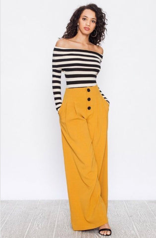 Laurie Yellow Wide Leg Pants