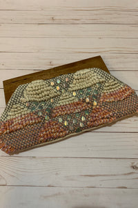 Beaded Clutch with Wooden Handle