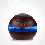300ml Wood Grain Blue LED USB Mist Maker Diffuser Humidifier
