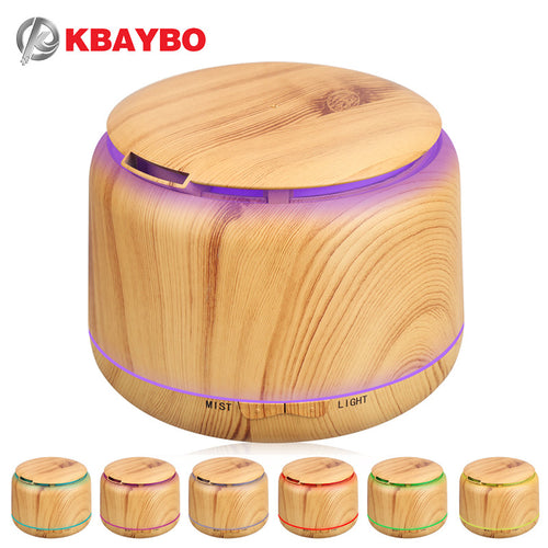 300ml Wood Grain LED Ultrasonic Diffuser Mist Humidifier