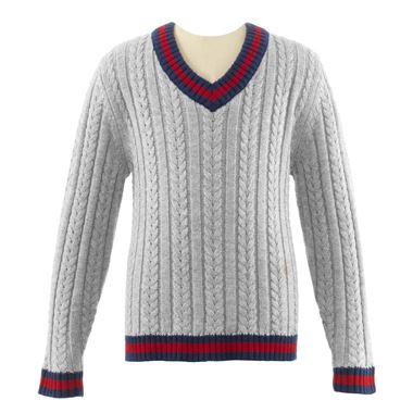 V-Neck Cable Sweater - Grey, Navy & Red
