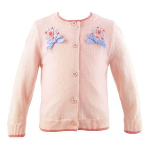 Bouquet Embroidered Cardigan - Light Pink