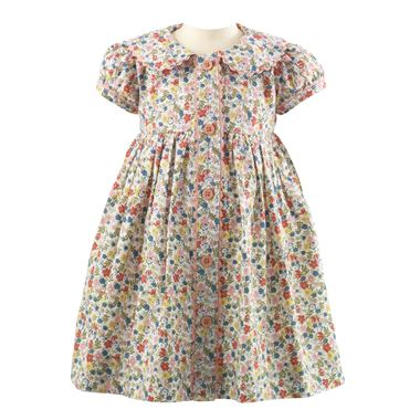 Ditsy Floral Button-Front Dress & Bloomers - Multi Colored